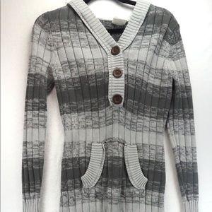 Roxy large grey stripe hooded sweater